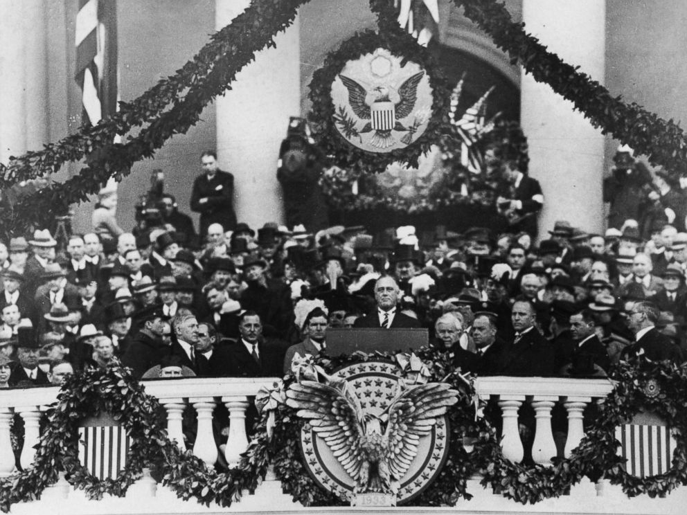 PHOTO: Franklin Delano Roosevelt making his inaugural address as 32nd President, 1933.