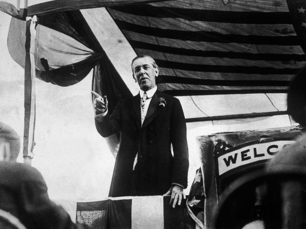PHOTO: Woodrow Wilson points with his finger while making a speech from a platform on his campaign trail, Virginia.