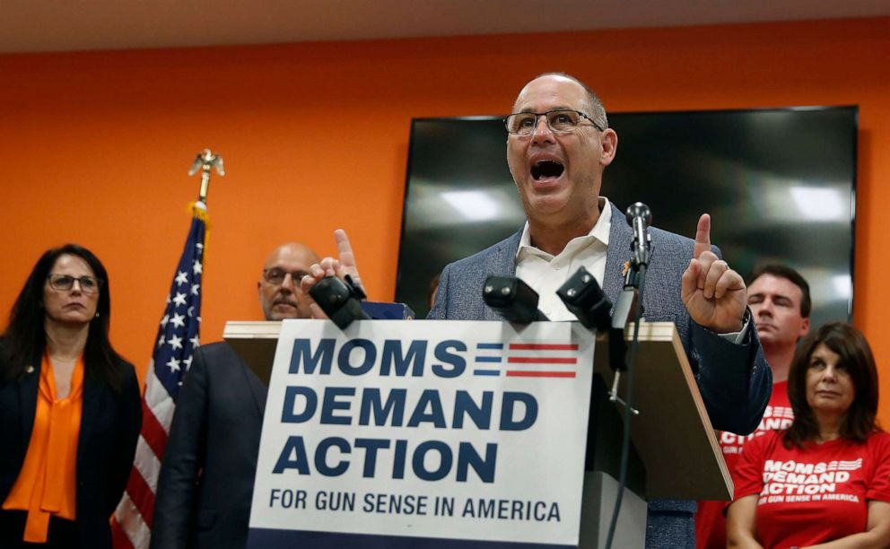 PHOTO: Fred Guttenberg, father of 14-year-old daughter Jaime Guttenberg, who was was killed in the Marjory Stoneman Douglas High School shooting, speaks during a news conference with the Moms Demand Action group, Aug. 29, 2019, in Coral Springs, Fla.