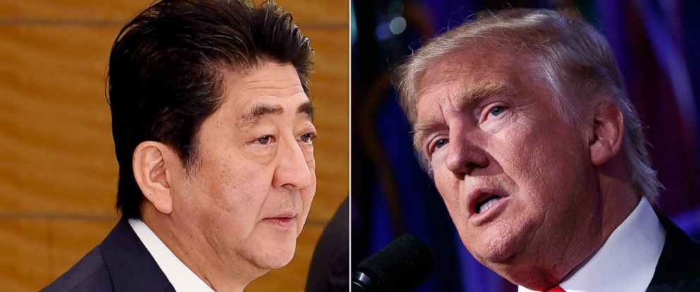 PHOTO: Japans Prime Minister Shinzo Abe, left, and President-elect Donald Trump.