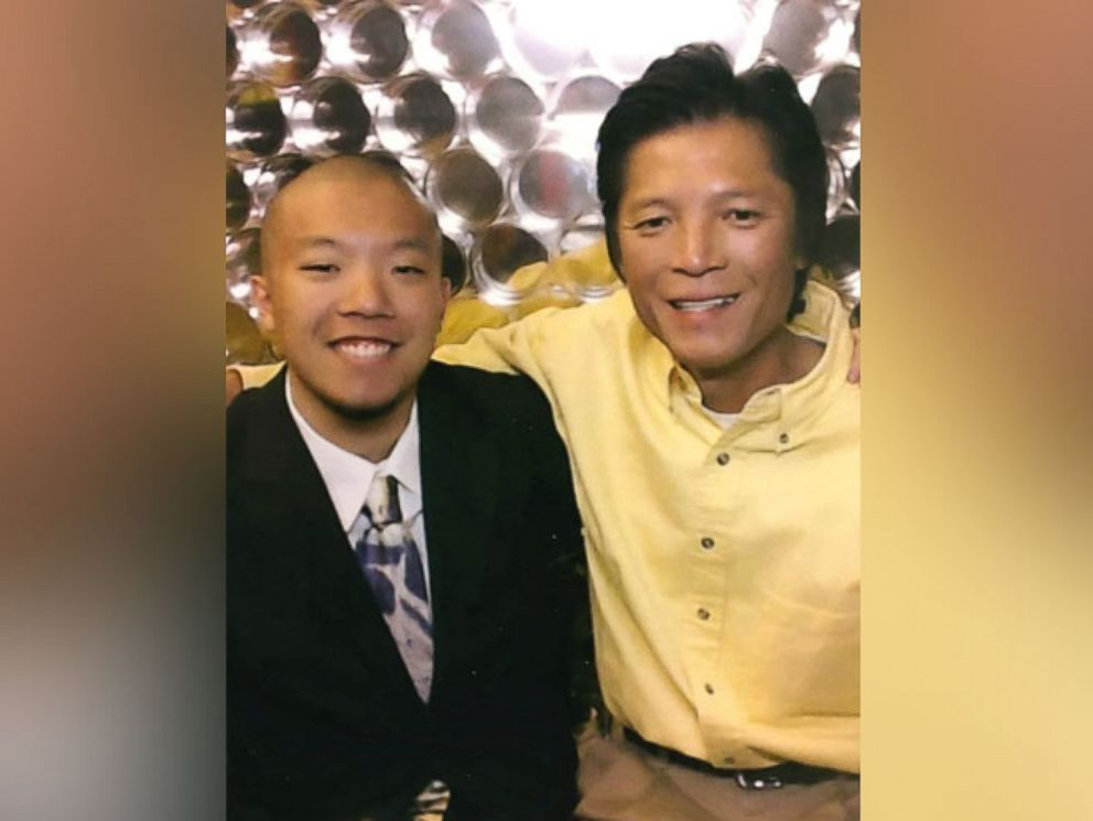 PHOTO: Andrew Sam, 21, a UCLA student, with his father, Johnny Sam.