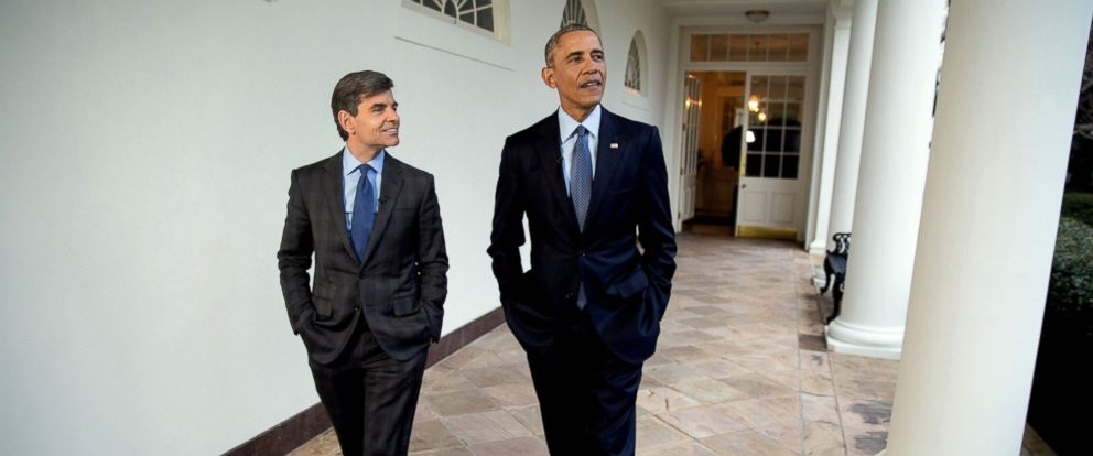 "PHOTO: President Barack Obama participates in an interview with George Stephanopoulos for ABCs ""This Week with George Stephanopoulos"" as they walk along the Colonnade to the Oval Office at the White House, Jan. 6, 2017."