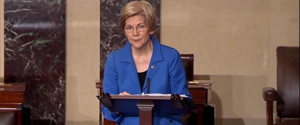 PHOTO: Democratic Senator Elizabeth Warren speaks on the Senate floor, Feb. 7, 2017.