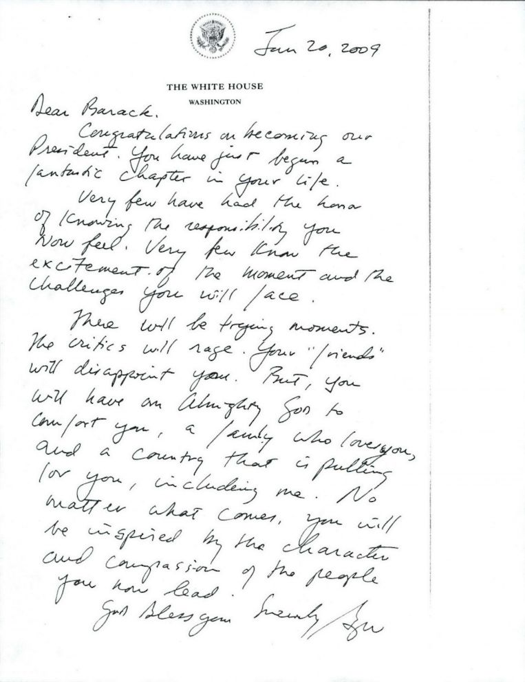 First on ABC: George W. Bush's Inauguration Day Letter to Barack