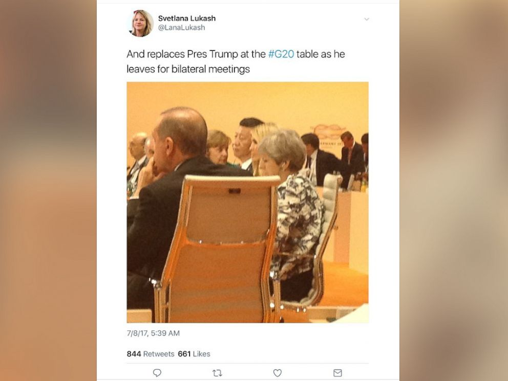 PHOTO: @LanaLukash on Twitter posted and later deleted this photo of Ivanka Trump at a G-20 meeting on July 8, 2017.