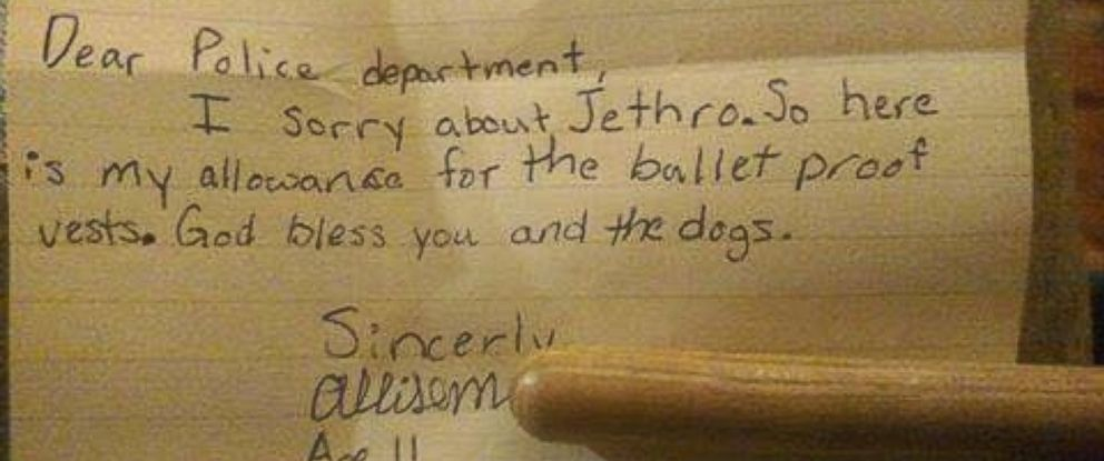 PHOTO: An 11-year-old girl named Allison donated her allowance money to the Canton Police Department to help get bulletproof vests for dogs in the departments K-9 unit.