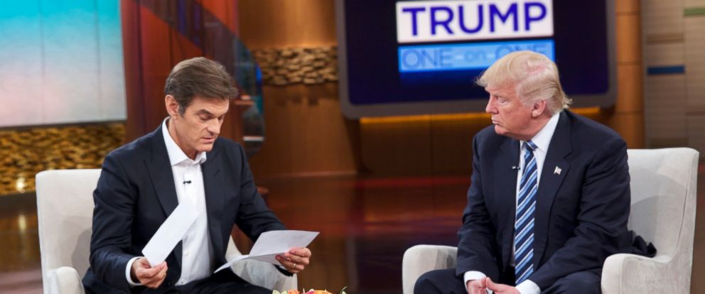 "PHOTO: Donald Trump releases medical records for the first time to Dr. Oz on ""The Dr. Oz Show"" detailing the results of his most recent physical examination, Sept. 14, 2016."