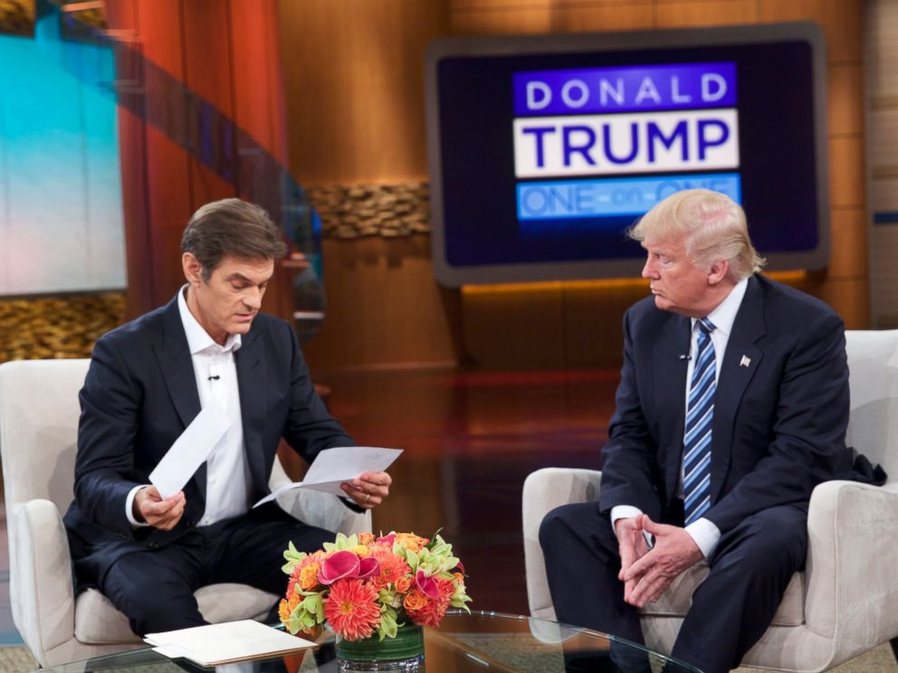 PHOTO: Donald Trump releases medical records for the first time to Dr. Oz on The Dr. Oz Show detailing the results of his most recent physical examination, Sept. 14, 2016.