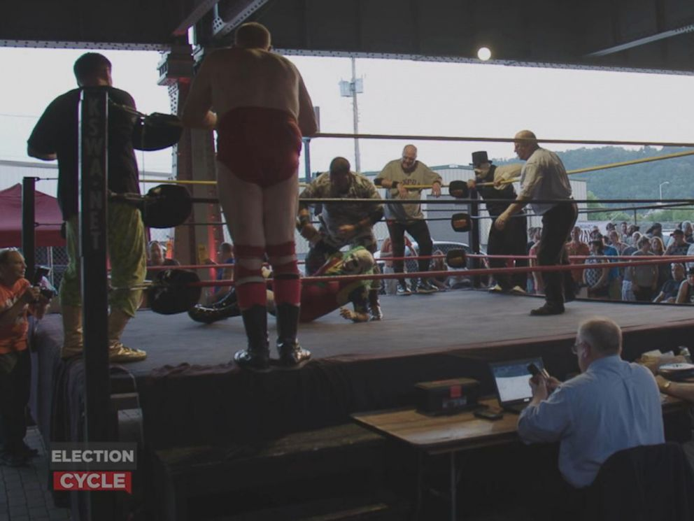 PHOTO: ABC News Michael Koenigs came upon Brawl Under the Bridge II, a semi-pro wrestling match in Homestead, Pennsylvania, during his 500-mile cycling trip from the RNC in Cleveland to the DNC in Philadelphia.