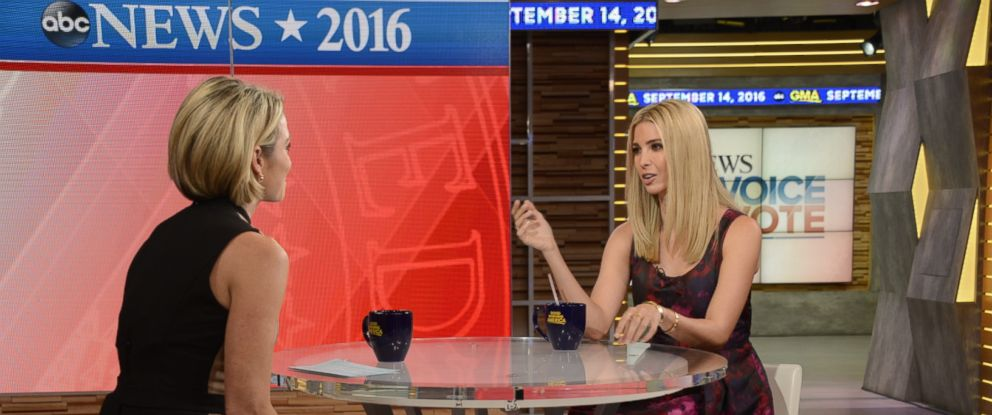 """PHOTO: Ivanka Trump tells """"GMA"""" the details of her dads proposal that includes maternity leave for mothers and her involvement in the plan."""
