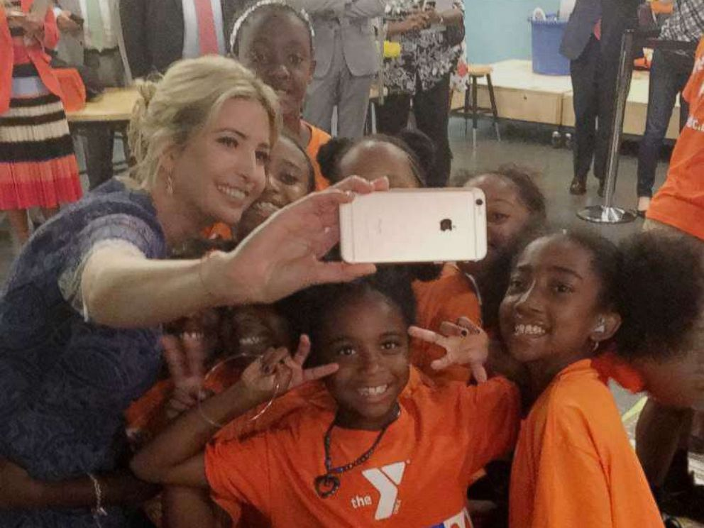 PHOTO: Ivanka Trump snaps selfies with girls at a reading event at the Smithsonian's National Museum of American History in Washington, D.C., on July 25, 2017.