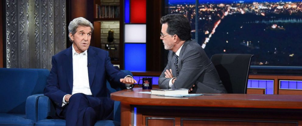 "PHOTO: John Kerry sat down for an interview with ""The Late Show"" host Stephen Colbert on Wednesday."