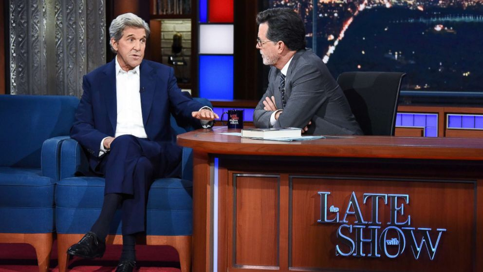 "John Kerry sat down for an interview with ""The Late Show"" host Stephen Colbert on Wednesday."