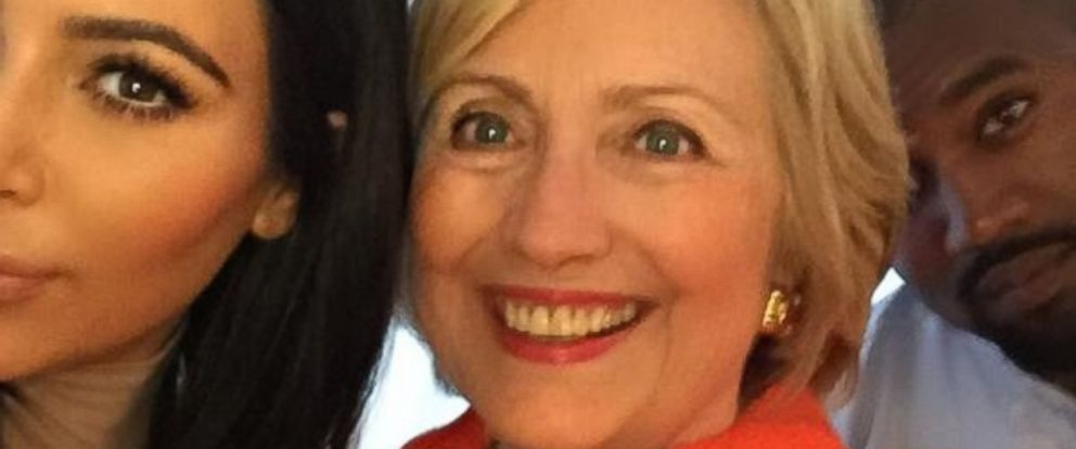 """Kim Kardashian tweeted this photo on August 7, 2015, with the caption, """"I got my selfie!!! I really loved hearing her speak & hearing her goals for our country! #HillaryForPresident."""""""