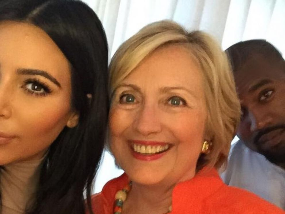 Kim Kardashian tweeted this photo on August 7, 2015, with the caption, I got my selfie!!! I really loved hearing her speak & hearing her goals for our country! #HillaryForPresident.