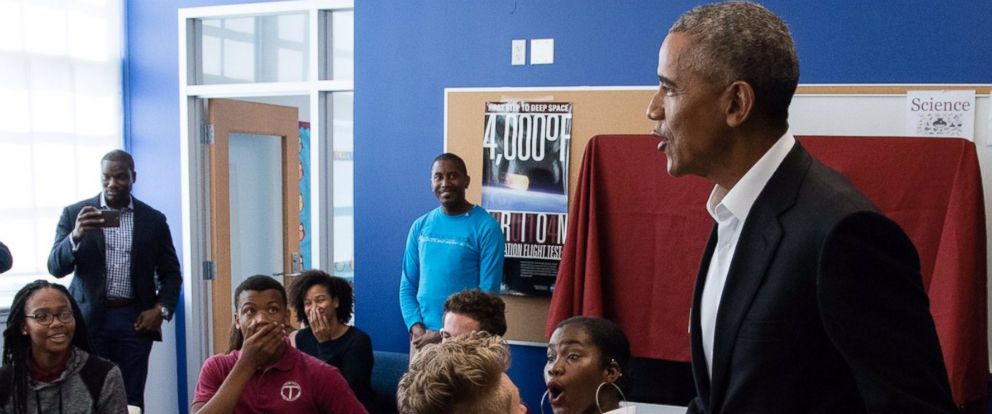 PHOTO: Former President Barack Obama surprises students at McKinley Technology High School in Washington, D.C. on September 9, 2017.