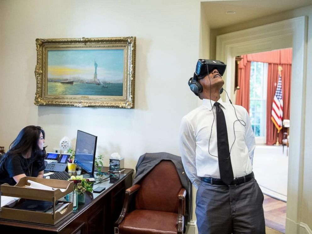PHOTO: President Obama watches a virtual reality film captured during his trip to Yosemite National Park earlier this year.
