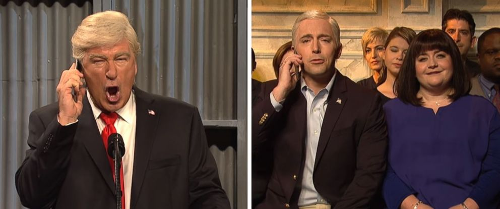 """PHOTO: Alec Baldwin, left, plays Donald Trump, on the October 14, 2017 episode of """"Saturday Night Live."""""""