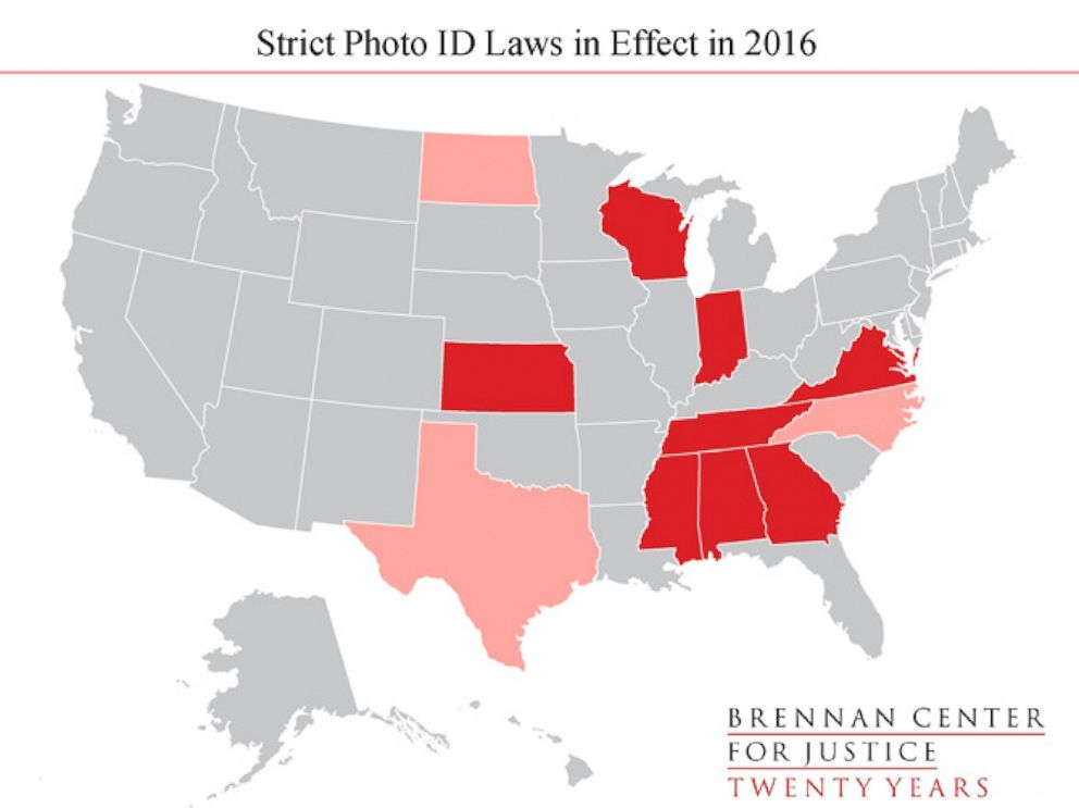 PHOTO: This map shows the eight states where the Brennan Center says has strict photo ID laws, and the three lighter-shaded states are states that had passed strict photo ID laws but have since had those blocked or mitigated by court.
