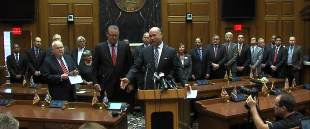"PHOTO: Indiana state legislators and business leaders announce proposed changes to a ""religious freedom"" law after it was criticized for possibly enabling discrimination."