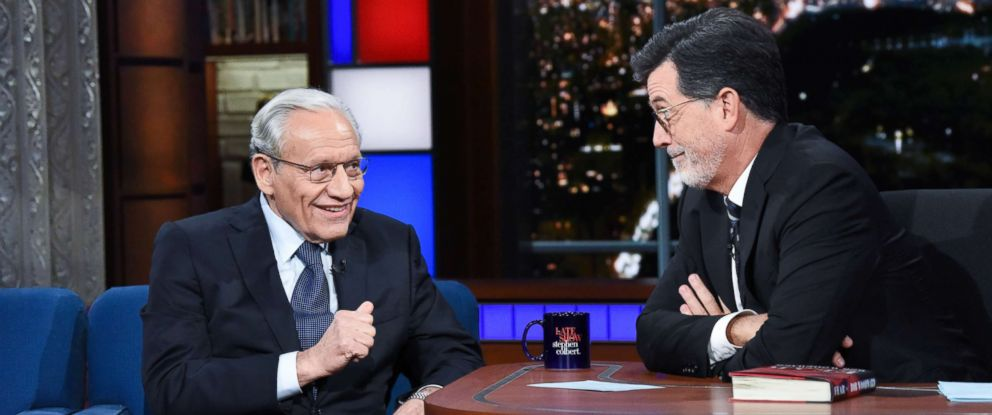 "Journalist and author Bob Woodward stopped by ""The Late Show"" on Monday to discuss his new book, ""Fear: Trump in the White House."""