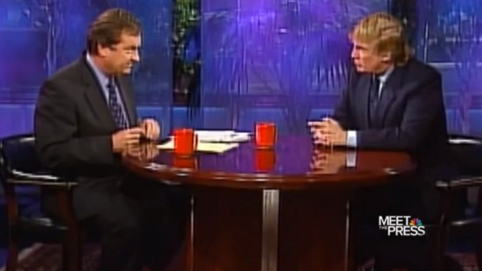 """Donald Trump is interviewed by Tim Russert on """"Meet the Press"""" in 1999."""
