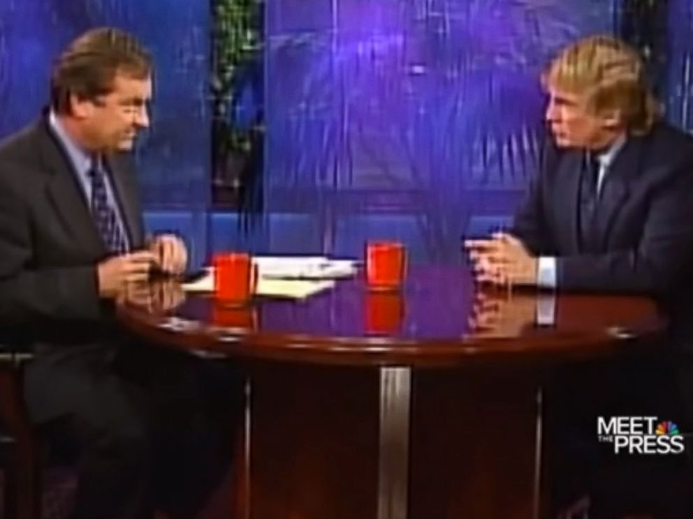 PHOTO: Donald Trump is interviewed by Tim Russert on Meet the Press in 1999.