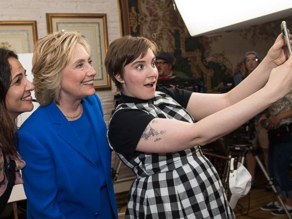 PHOTO: Lena Dunham posted this photo to Instagram with the caption,Saturday Selfie Lesson from @lennyletter: always act surprised and pleased, like the camera is a grade school buddy you ran into in Walgreens. Right @hillaryclinton?