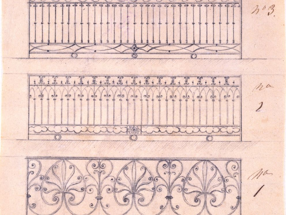 PHOTO: This pen and ink drawing shows options for this wrought-iron railing for the north side of the White House. The bottom option was built in 1902.