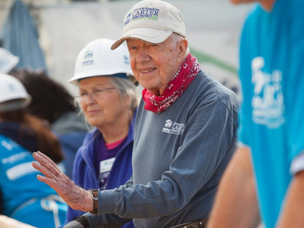 PHOTO: Former President Jimmy Carter helps to rehabilitate a home, on the final day of the 2013 Jimmy & Rosalynn Carter Work Project in Union Beach, N.J.