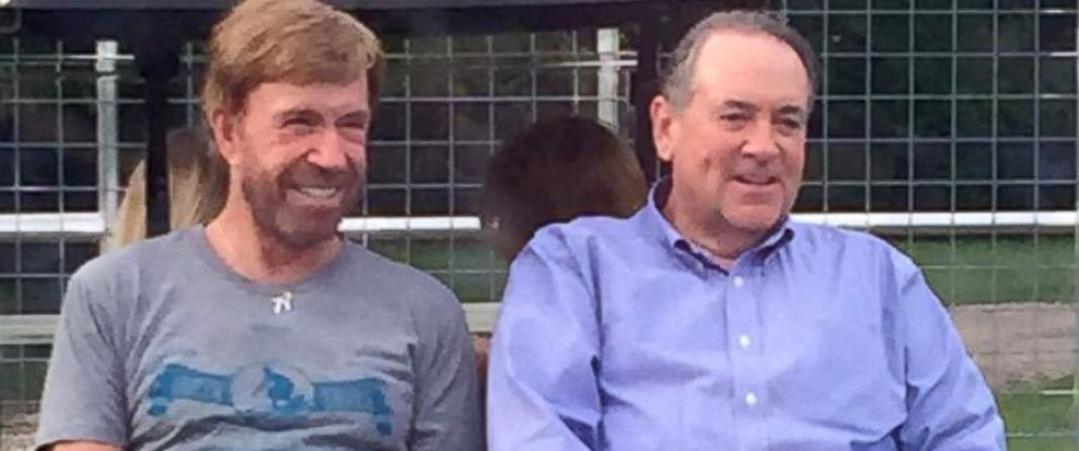 PHOTO: Chuck Norris hosted an event at his Texas ranch on Sep. 27, 2015, for Republican presidential candidate Mike Huckabee and his major donors and bundlers.