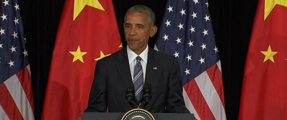 PHOTO: President Obama speaks at a press conference in Hangzhou, Zhejiang, China, Sept. 5, 2016.