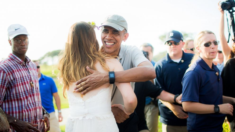 Stephanie and Brian met President Obama on their wedding day when he came to play golf at their venue, the Torrey Pines Golf Course in San Diego, Calif., on Oct. 11, 2015.