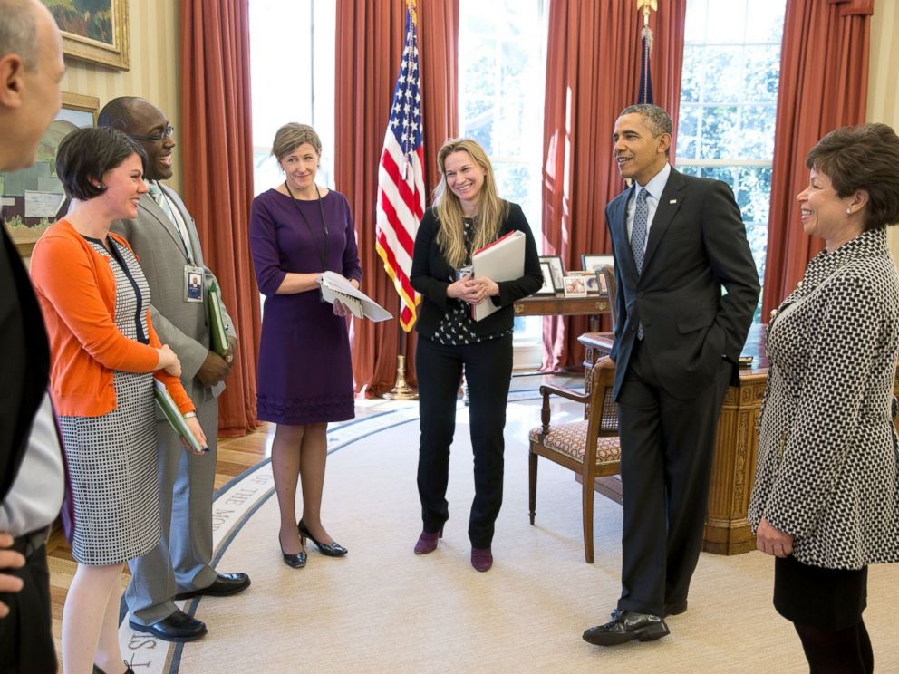 President Obama receives an update on the Affordable Care Act in the Oval Office, April 1, 2014. With the President, from left, are: Phil Schiliro, Tara McGuinness, Marlon Marshall, Jeanne Lambrew, DKristie Canegallo and Senior Advisor Valerie Jarrett.