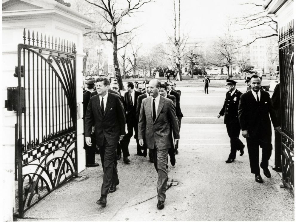 PHOTO: President Kennedy walks home from Blair House, March 28, 1963.