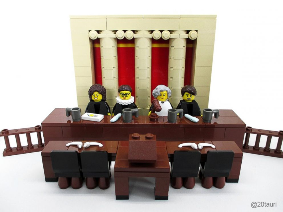 PHOTO: A LEGO set of female Supreme Court Justices created by Maia Weinstock includes Sonia Sotomayor, Elena Kagan, Sandra Day OConnor and Ruth Bader Ginsburg.
