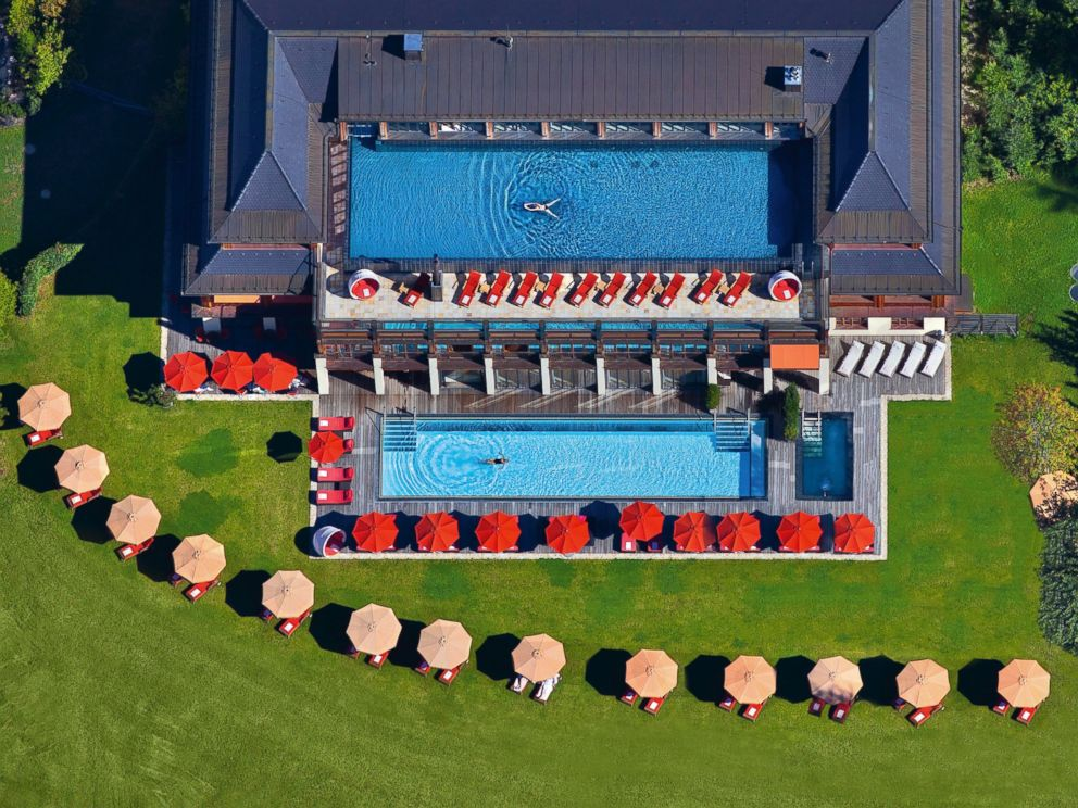 PHOTO: Two outdoor heated swimming pools at Schloss Elmau where the G7 Summit begins Sunday.