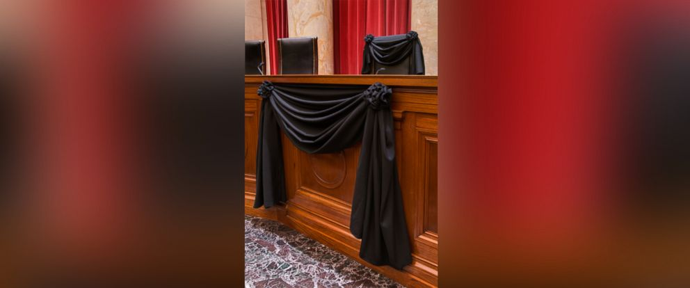 PHOTO: The courtroom of the Supreme Court showing Associate Justice Antonin Scalias bench chair and the bench in front of his seat draped in black following his death on Feb. 13, 2016.