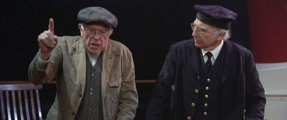 PHOTO: This image shows Senator Bernie Sanders and Larry David in a segment from Saturday Night Live on Feb. 6, 2016.