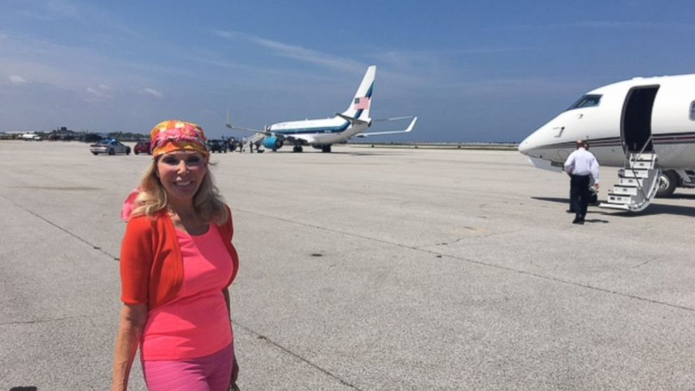 Trumpettes founder Toni Halt Kramer is pictured here with Donald Trump's plane.