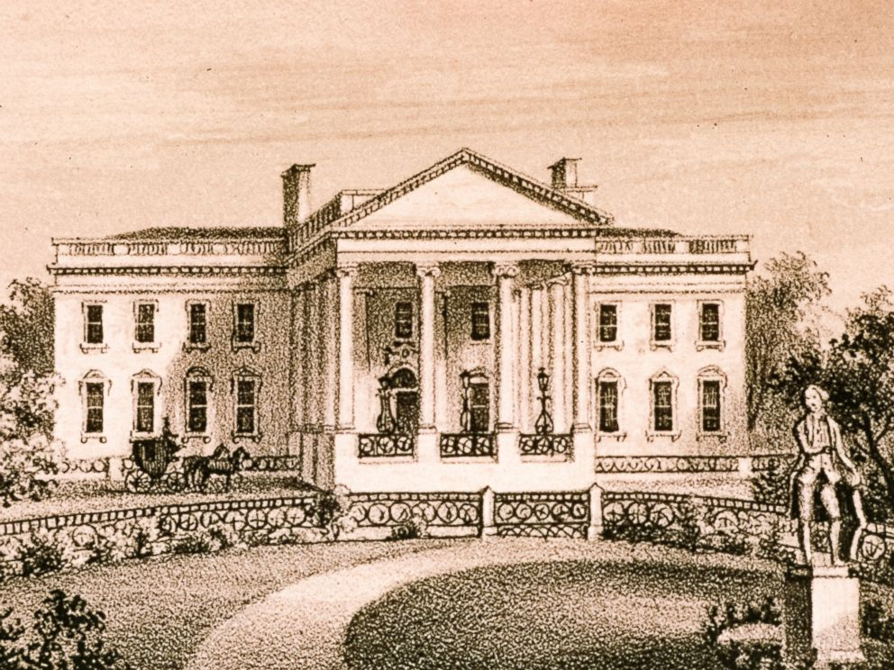 PHOTO: A portico with iconic columns graced the north facade after 1829. The ornamental iron fences were installed in 1833.
