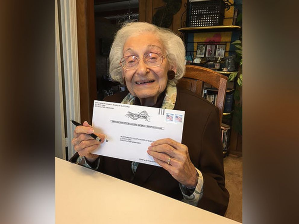 PHOTO: Estelle Liebow Schultz, 98, of Rockville, Maryland, cast her ballot for Hillary Clinton in the 2016 presidential election.