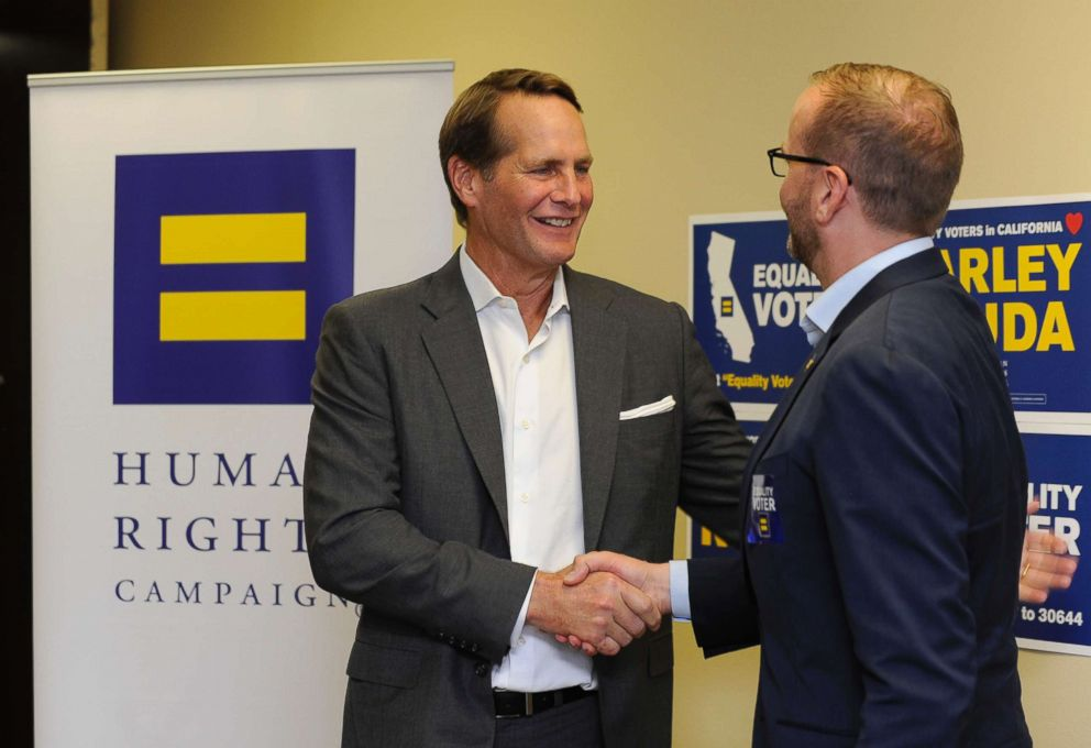 Harley Rouda, left, accepts endorsement from Human Rights Campaign President Chad Griffin at an HRC endorsement and phone bank for candidate for Congress (CA-48) Harley Rouda, Aug. 3, 2018, in Huntington Beach, Calif.