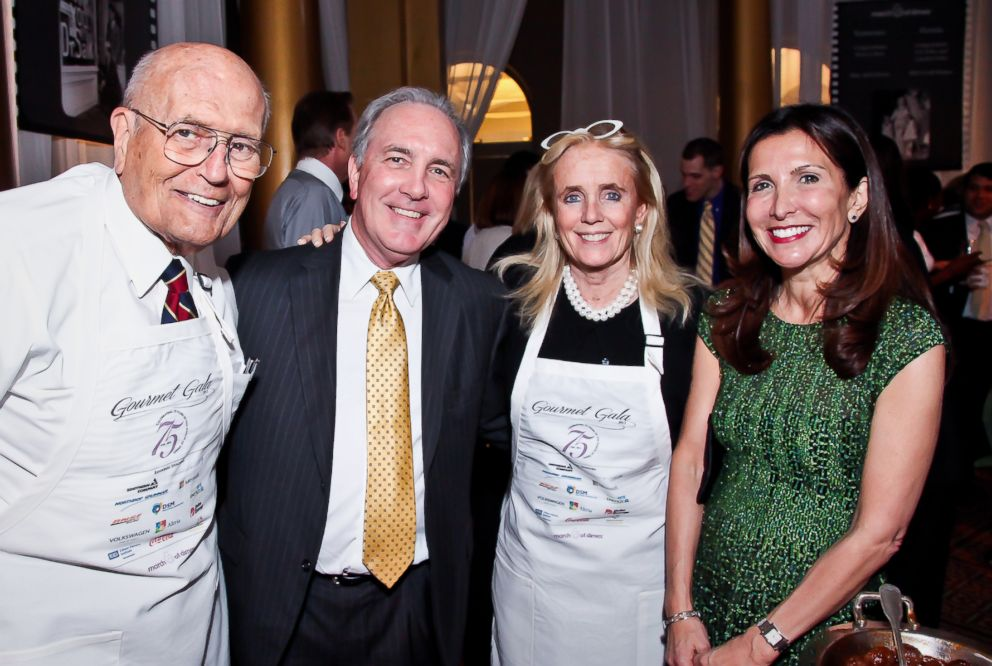 PHOTO: From left, Rep. John Dingell, Steve Hart, Debbie Dingell, and Vicki Hart at an event at the National Building Museum in Washington, D.C., April 16, 2013.