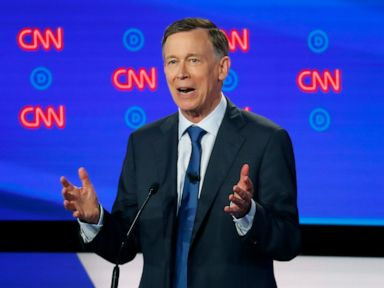 PHOTO: Former Colorado Gov. John Hickenlooper speaks during the first of two Democratic presidential primary debates, July 30, 2019, in the Fox Theatre in Detroit.