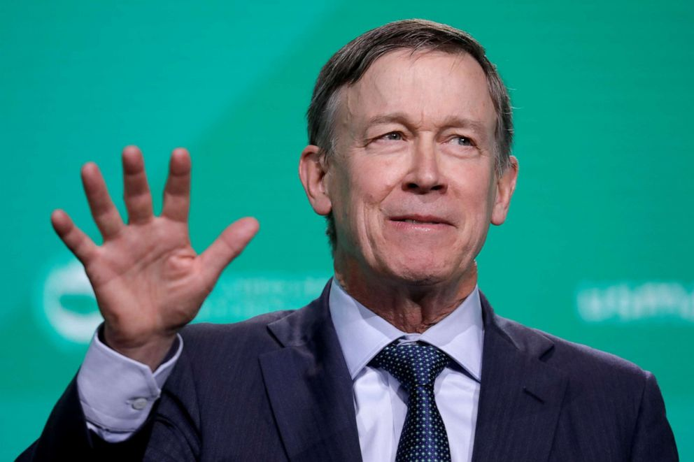 PHOTO: Former Gov. John Hickenlooper speaks at the United States Conference of Mayors winter meeting in Washington D.C., Jan. 24, 2019.