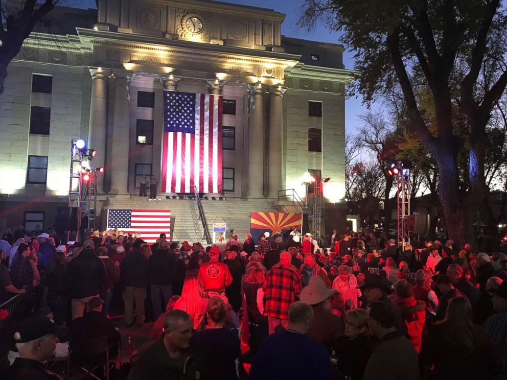 The Arizona Republican Party held an Election Eve rally on the steps of the Yavapai County Courthouse in Prescott, Arizona, on Nov. 5, 2018.