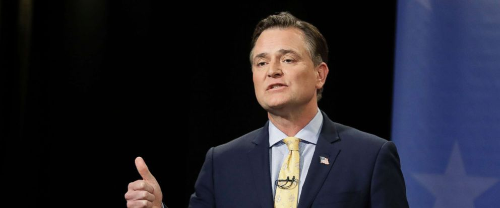 PHOTO: Senate candidate Luke Messer speaks during the Indiana Republican Senate Primary Debate on April 30, 2018, in Indianapolis.
