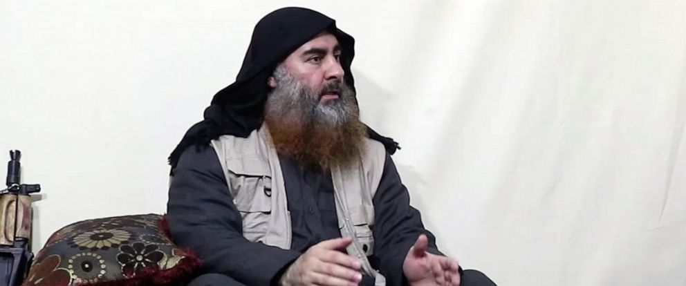 PHOTO: This image made from video posted on a militant website , April 29, 2019, purports to show the leader of the Islamic State group, Abu Bakr al-Baghdadi, being interviewed by his groups Al-Furqan media outlet.
