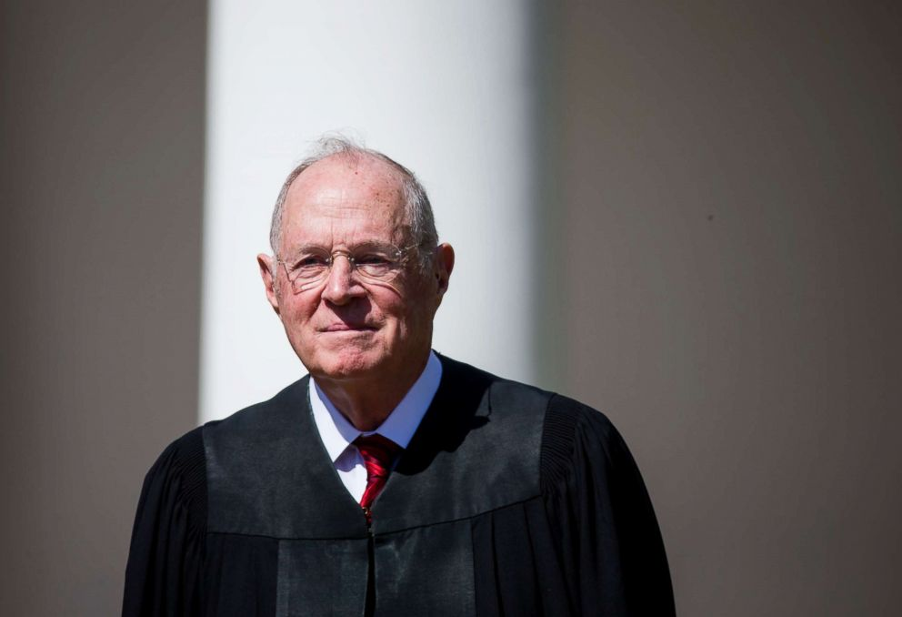 Supreme Court Associate Justice Anthony Kennedy attends a ceremony in the Rose Garden at the White House, April 10, 2017 in Washington, D.C.